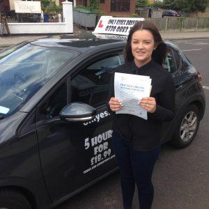 Katie passed her driving test at Hornchurch after only 20 hours.