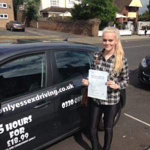 Catherine passed her driving test second time as she was very nervous.