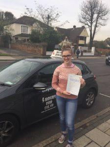 Ella took her driving test and passed first time.