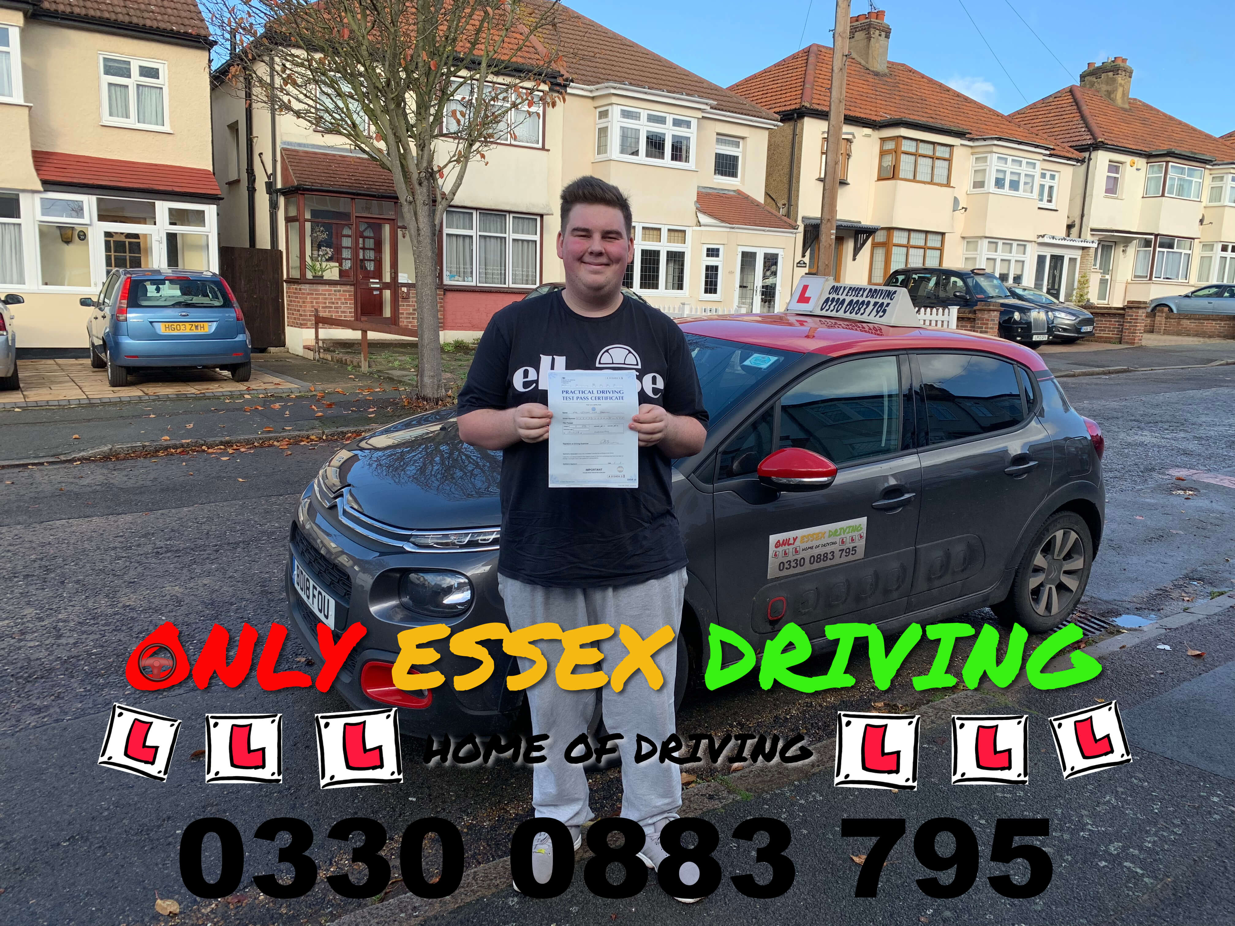 Well done to Jordan, who passed his driving test at Hornchurch test centre, Elm Park, Essex driving