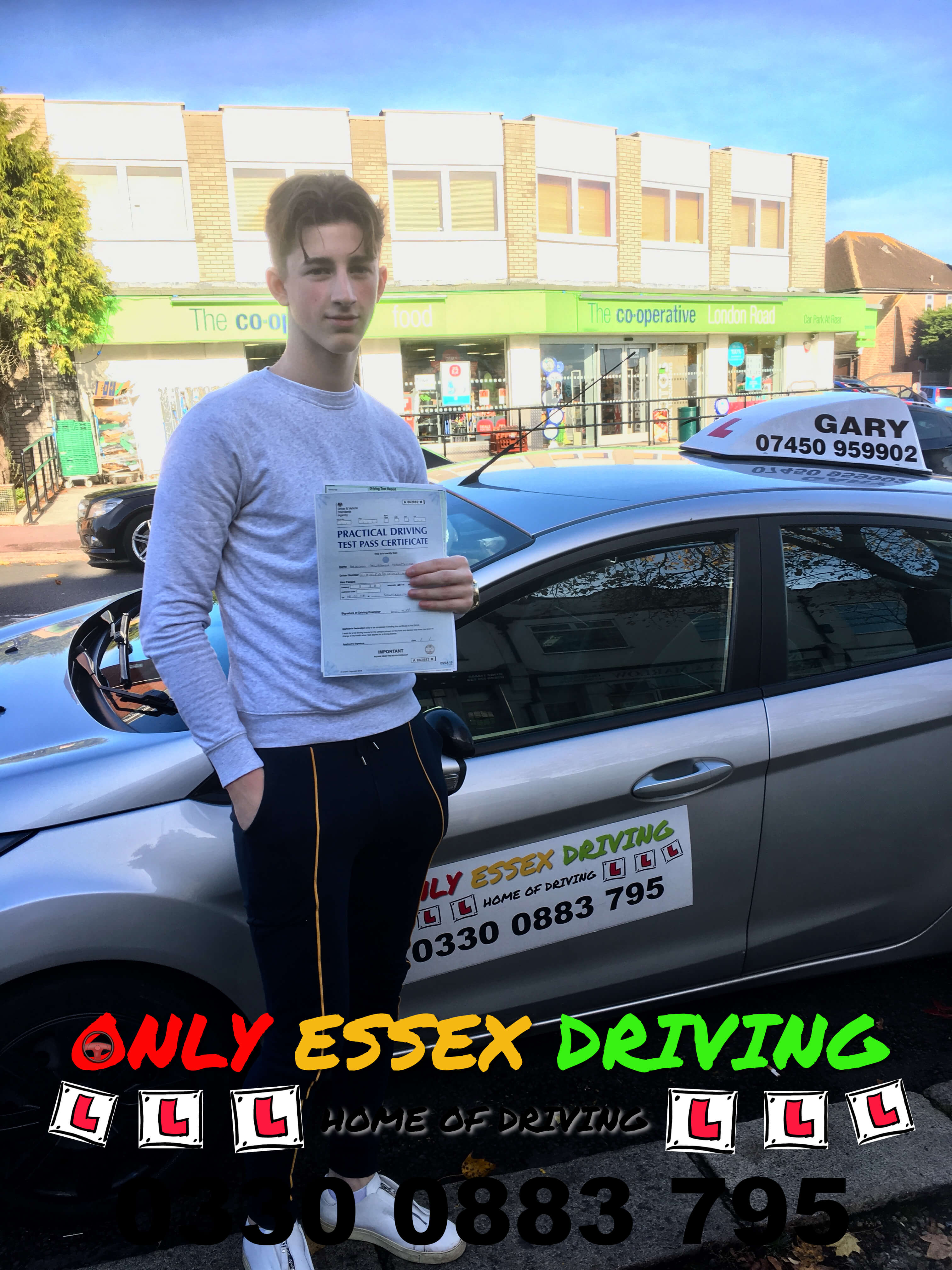 Well done to Brandon who passed his driving test at Southend test centre