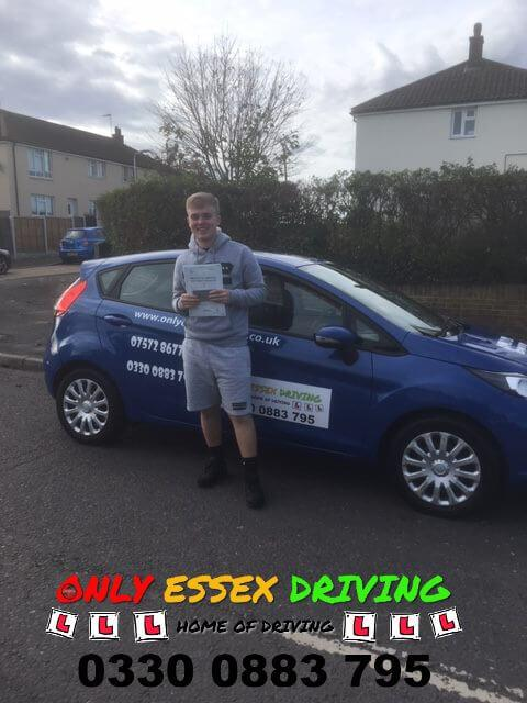 Shane Flindall who passed his driving test at Hornchurch test centre on the first attempt